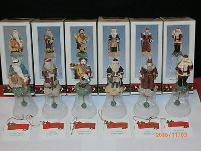 Novelino Christmas Thru the Ages Glass Santa Bells from 1992 - Complete Set of 6