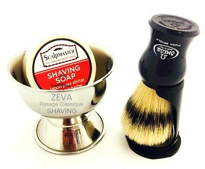 Omega Blue Shaving Brush With Drip Stand Soap Bowl Complete Gift Set For Men