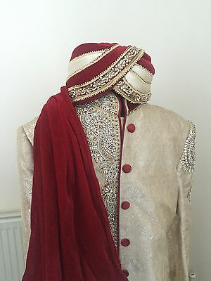 Red And Gold Men's Groom Sharwani weddings, bridal indian/paistani RRP £600