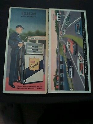 two vintage atlantic imperial gas station road maps boston