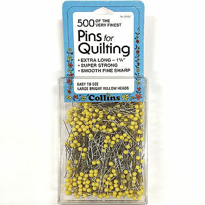 "500 Pk. Pins For Quilting By Collins 1-3/4"" Long, Yellow Ball Head Finest Pins"