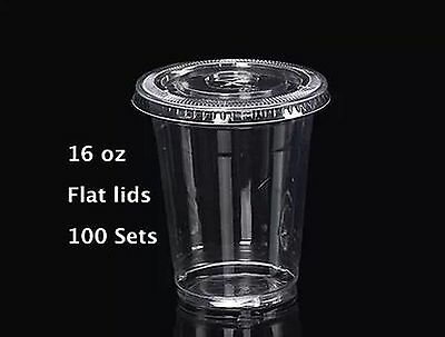 16 oz Plastic Clear Drink PET Cups with Flat Lids 100 Sets New