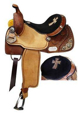 "15"" Double T barrel saddle w/ basketweave tooling and alligator print cross seat"