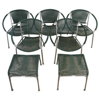"Set of Five Mid-Century Patio Chairs with Two Ottoman ""Surf Line"" Brown Jordan"
