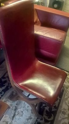 spanish red leather and oak dinning chairs x 6