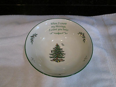 """SPODE CHRISTMAS TREE BOWL 6"""" """"When I county my blessings, I count you twice"""" NWT"""