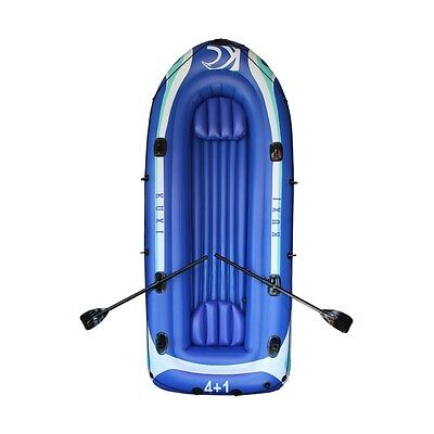 ALEKO 4 Person 10Ft Inflatable Rubber Cheap Boat With Set Of Oars Color Blue
