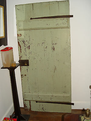 THE BEST Antique Shabby Chic Painted Wood Door Architectural Salvage strap hinge