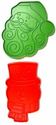 Hallmark Christmas Cookie Cutters- Large Avocado Santa & Red Snowman Faces