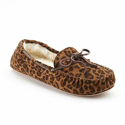 NWT Sonoma Brown Leopard Slippers Shoes Plush Lined Warm Fuzzy  Sz 9 10 NEW