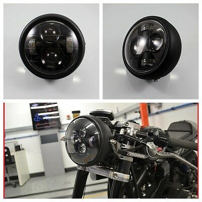 Motorcycle Black Projector Daymaker Headlight Hi/Lo LED Light Bulb For Harley
