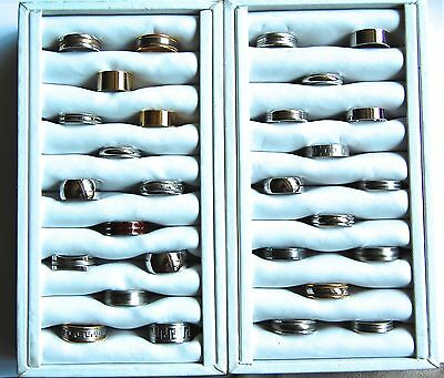 Wholesale Lot Of 28 Men's Nos Rings Wedding Bands Titanium Steel With Displays