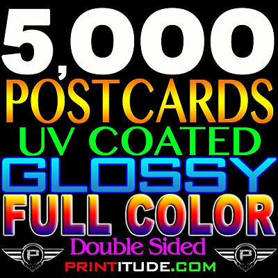 "5000 CUSTOM PERSONALIZED 4""x3"" POSTCARDS FLYERS Full Color GLOSSY 2 SIDED 3X4"