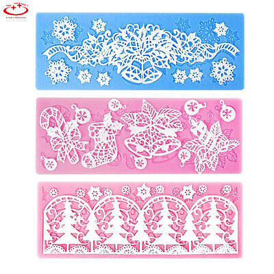 Lace Silicone Mold Mould Sugar Craft Fondant Mat Cake Decorating Baking Tools