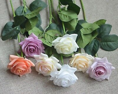 Real Touch Roses Ivory Red Blue Champagne Blush Silk Roses DIY Wedding Bouquets
