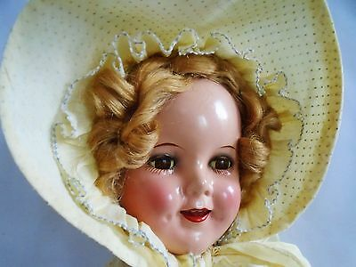 """JUST LOVELY Circa 1930 Vintage Shirley Temple 18"""" Composition Doll."""