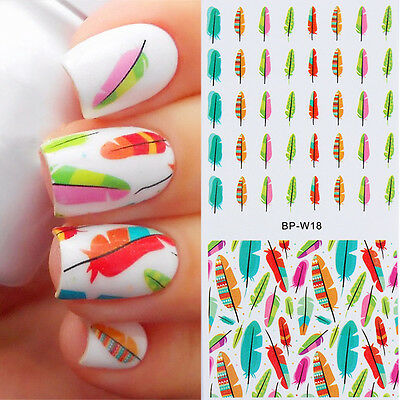 Born Pretty Feather Nail Art Water Transfer Wraps Decals Stickers Tips  BP-W18