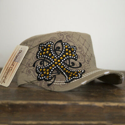 Cross Bling Cap  - Beige