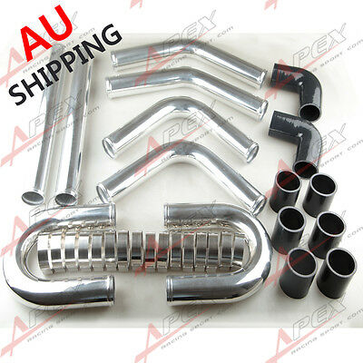 """2.5"""" Inch Universal Aluminum Turbo Intercooler Piping Kit Pipes Clamp Coupler Au"""