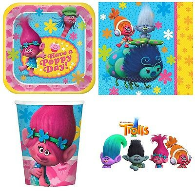 Trolls Movie Party Supplies - Party Pack for 8 - Plates, Napkins & Cups