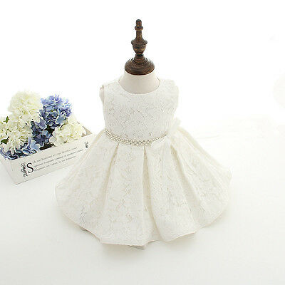 2pcs Outfit Christening Dress Baby Girl Baptism Gown Lace Formal Clothes +Bonnet