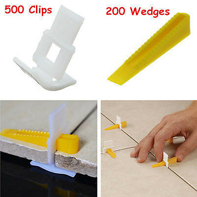 500 Clips + 200 Wedges - 700 Tile Leveling System - Leveler Spacers Lippage Free