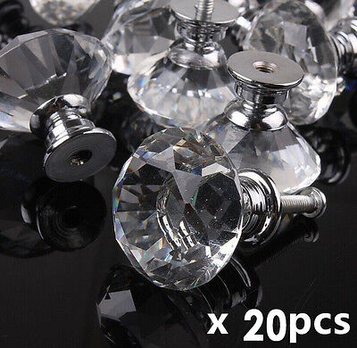 20Pcs 30mm Pull Handle Diamond Shape Crystal Glass Cabinet Knob Cupboard Drawer#