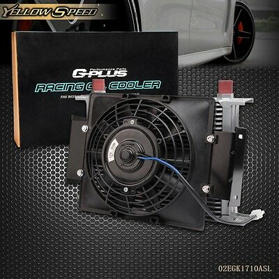"UK 25 Row 10AN Universal Engine Transmission Oil Cooler+7"" Electric Cooling Fan"