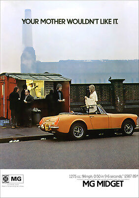 Mg Midget 1973 Retro Poster A3 Print From Classic 70's Advert
