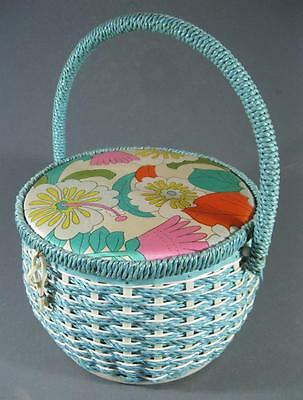 Shabby vintage blue wicker/rattan sewing retro fabric lid chic