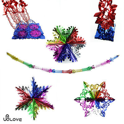 Set of 4/3 Christmas Foil Ceiling Garland Hanging Xmas Decoration Multi Colour