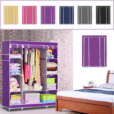 New Multiple Colors Canvas Wardrobe With Hanging Rail Furniture Storage Uk