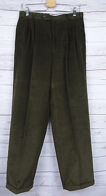 Vtg Pleated Cord Trousers Turn Ups 80s Does 40s / 50s W30 L31 DI68
