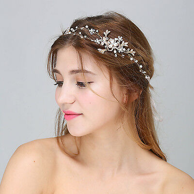 Diamante Bridal Accessories Crystal Wedding Hair Vine Pearls Hair Halo 1 Piece