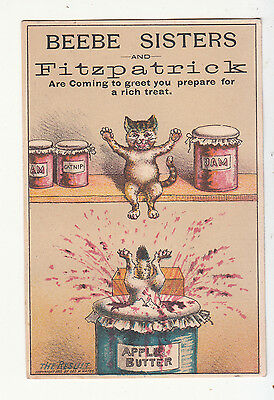 Beebe Sisters & Fitzpatrick Cats Jumping in Apple Butter THE RESULT Card c1880s