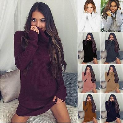 New Womens Ladies Long Sleeve Cable Knitted Sweater Polo Roll Neck Jumper Dress