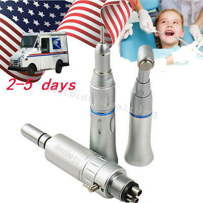 Dental Slow Low Speed Handpiece 4 hole Push Button E-type air motor Contra Angle