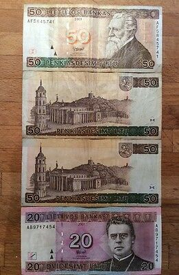Lithuanian Litas banknotes x 4 EU 20 and 50 out of circulation limited soon rare