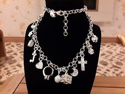 Brand new 925 stamped Silver charm necklace and gift box
