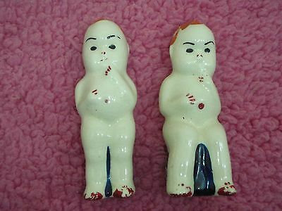old vintage salt and pepper shaker set kewpie style dolls
