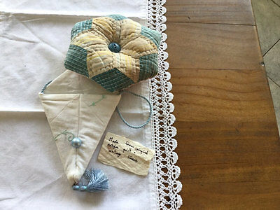 Antique/vintage Quilt Recycled Pincushion And Scissor Keeper. Lot 3.