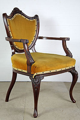 Carved Mahogany 'shield Back' Elbow Chair