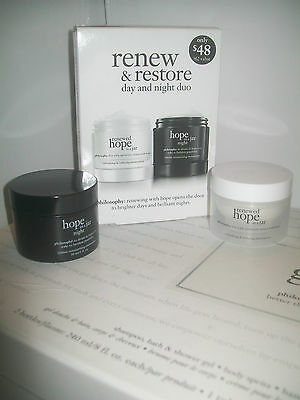 philosophy hope in a jar duo ' renew & restore day & night set '  new & boxed