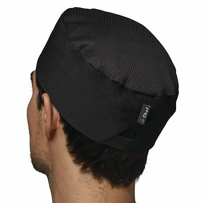 Le Chef Staycool Hat Black Skull Cap Elasticated Back Thermocool Oval Shape
