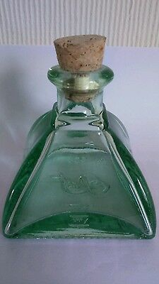 Vintage Art Deco Pact Green Glass Medicine/Scent Bottle with cork Collectable