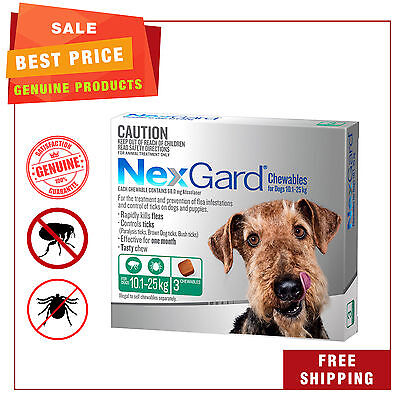 NEXGUARD for Dogs 10.1 - 25 Kg GREEN Pack 3 Chews Flea Tick Treatment NEXGARD