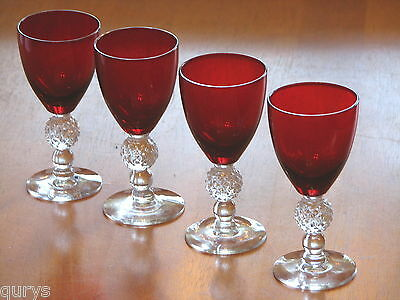 Morgantown Glass GOLF BALL Ruby Red Wine Goblets - Set of 4