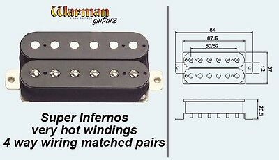 Matched Pair HOT overwound Warman Inferno Humbuckers - 4 way wiring