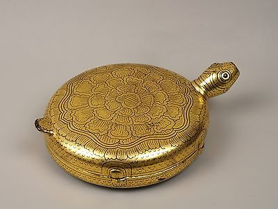 An Unusual Antique Burmese Gilt Lacquered Betel Box - Tortoise Form.