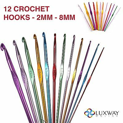 12 Multi Coloured Aluminium Crochet Hooks Yarn Knitting Needles Set 2Mm-8Mm Uk